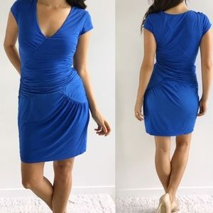 BCBGMAXAZRIA Blue Ruched Knit Dress XS